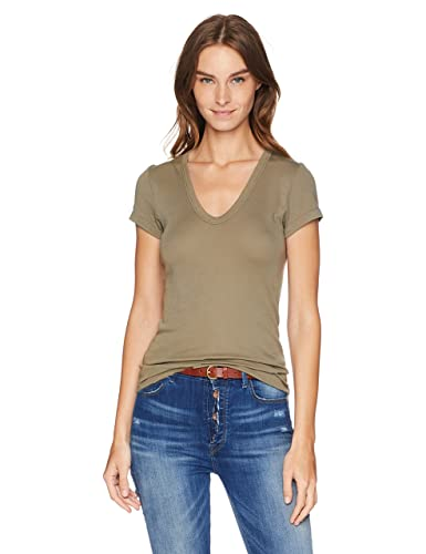 Enza Costa Women's Essential Supima Cotton Cap Sleeve U Neck T Shirt by Enza Costa