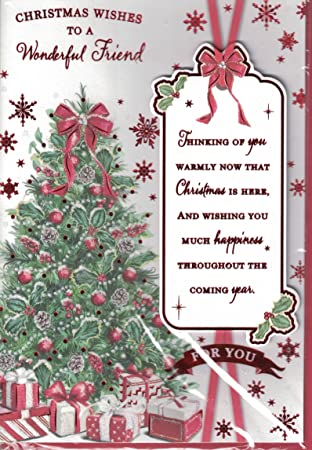 Friend christmas card christmas wishes for a wonderful friend friend christmas card christmas wishes for a wonderful friend traditional xmas tree wreath m4hsunfo