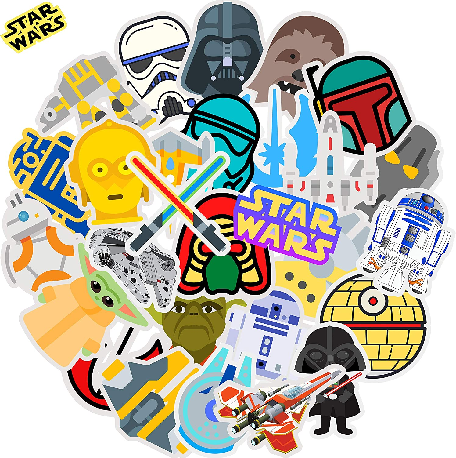 Star Wars Stickers for Hydro Flask Laptop Water Bottle | Premium Vinyl Big Waterproof | Funny Trendy VSCO Cool Decal Gift Pack for Teen Kid Adult Girl Boy HydroFlask Skateboard Phone Computer, 30PCS