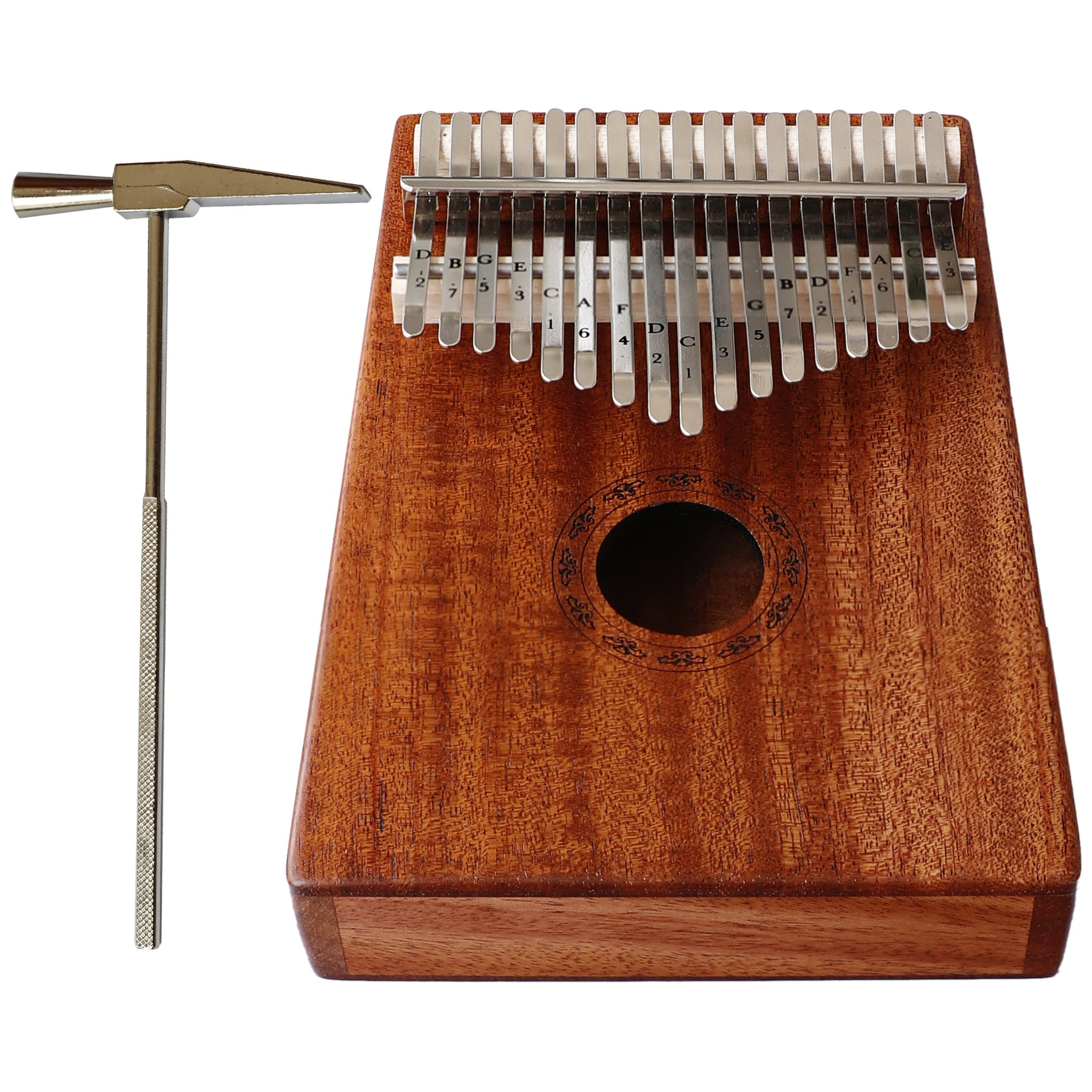 Jaymz Kalimba Mbira with 17 keys thumb piano - whole SOLID MAHOGANY in matte color with natural grain