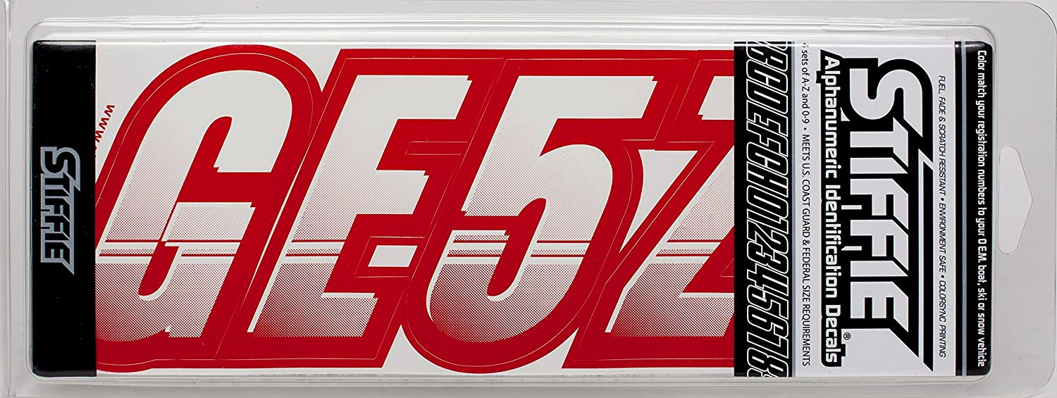 STIFFIE Techtron White//Red 3 Alpha-Numeric Registration Identification Numbers Stickers Decals for Boats /& Personal Watercraft