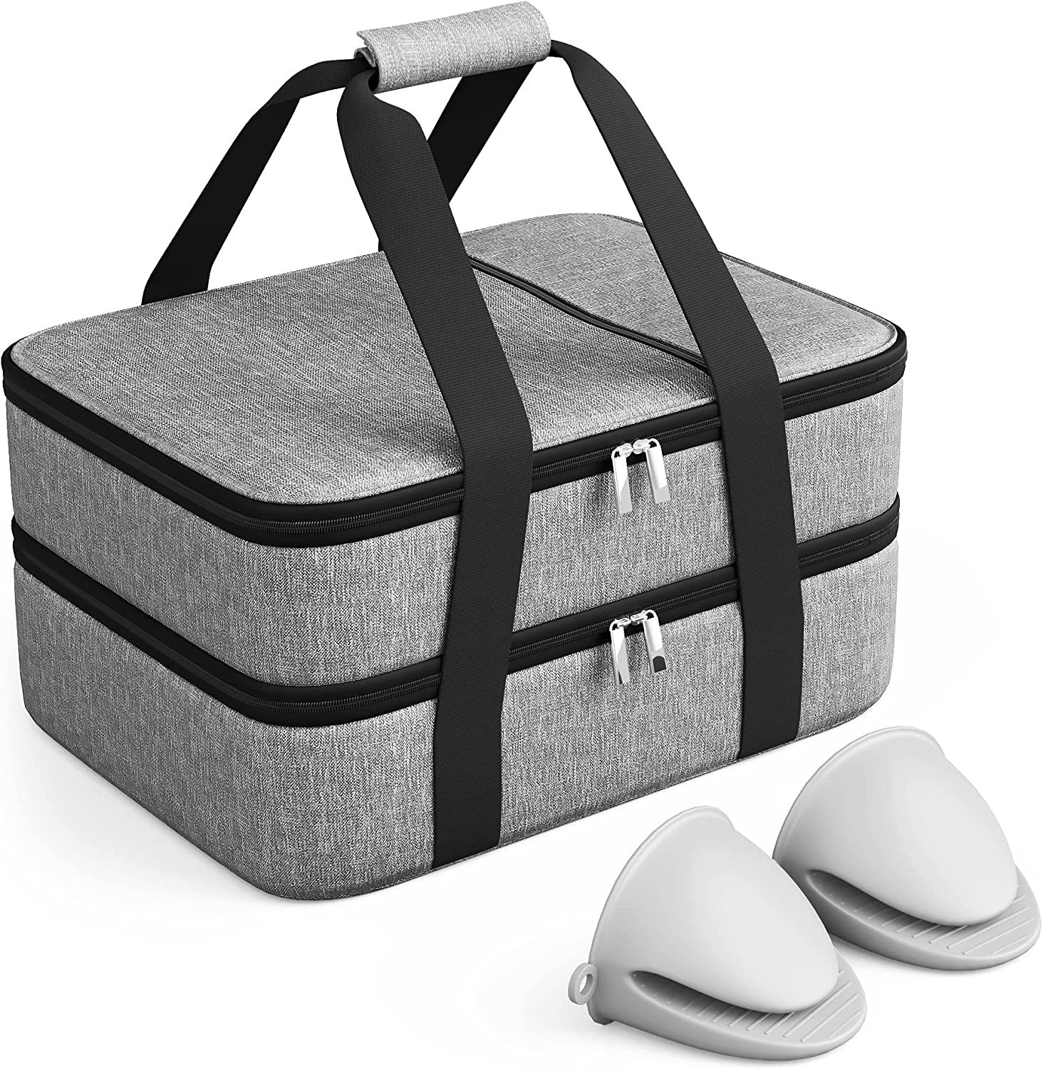 Double Decker Insulated Casserole Carrier bundled with Silicone Hand Protectors, For Hot or Cold Food, Insulated Bag, Thermal Lunch Tote, Lasagna Holder, For Potluck/Parties/Picnic, Grey