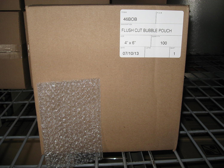 100 Per Case 4 X 6 Clear Flush Cut Bubble Pouches