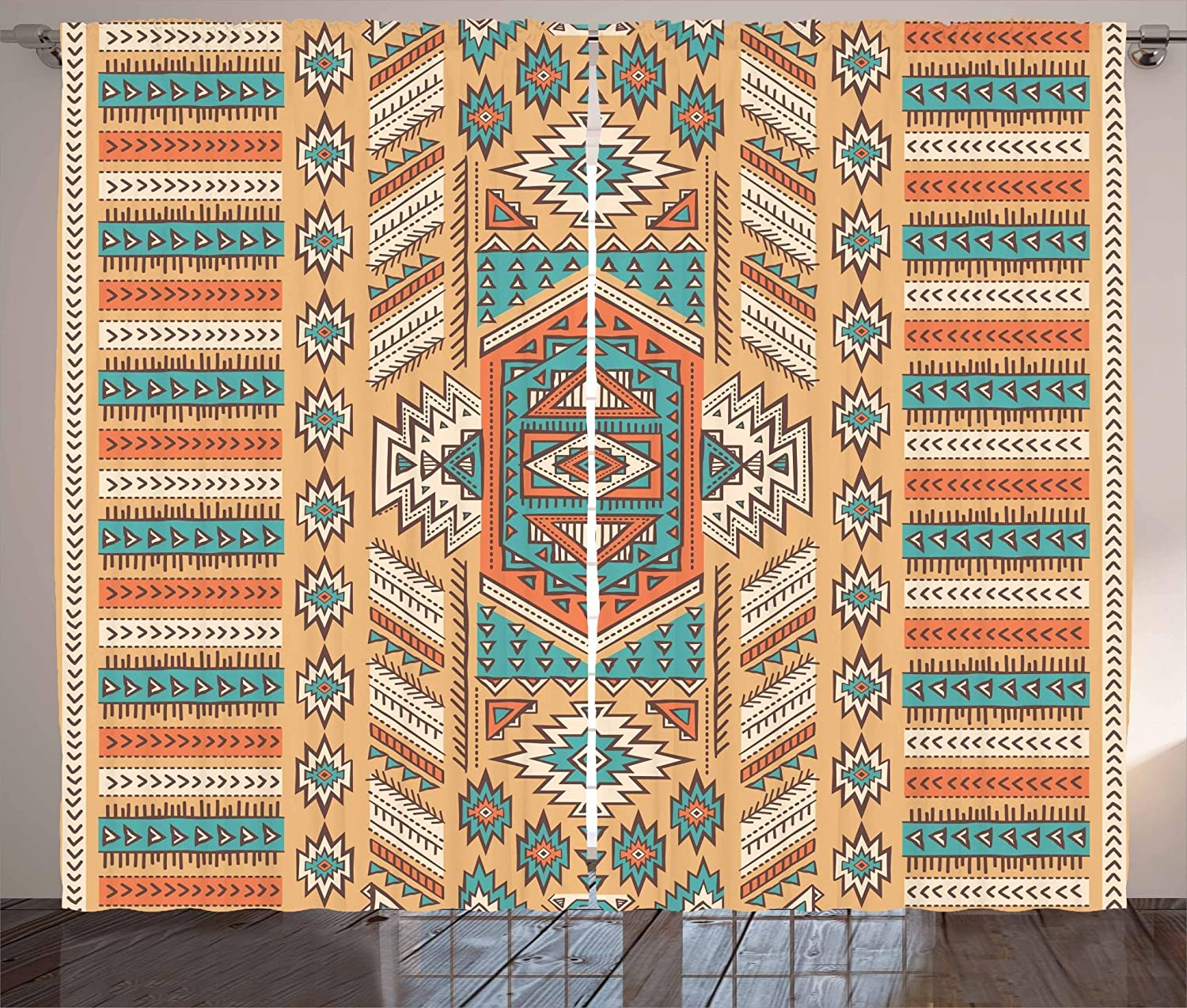 Ambesonne Tribal Curtains, Secret Tribe Pattern in Bohemian Style, Living Room Bedroom Window Drapes 2 Panel Set, 108