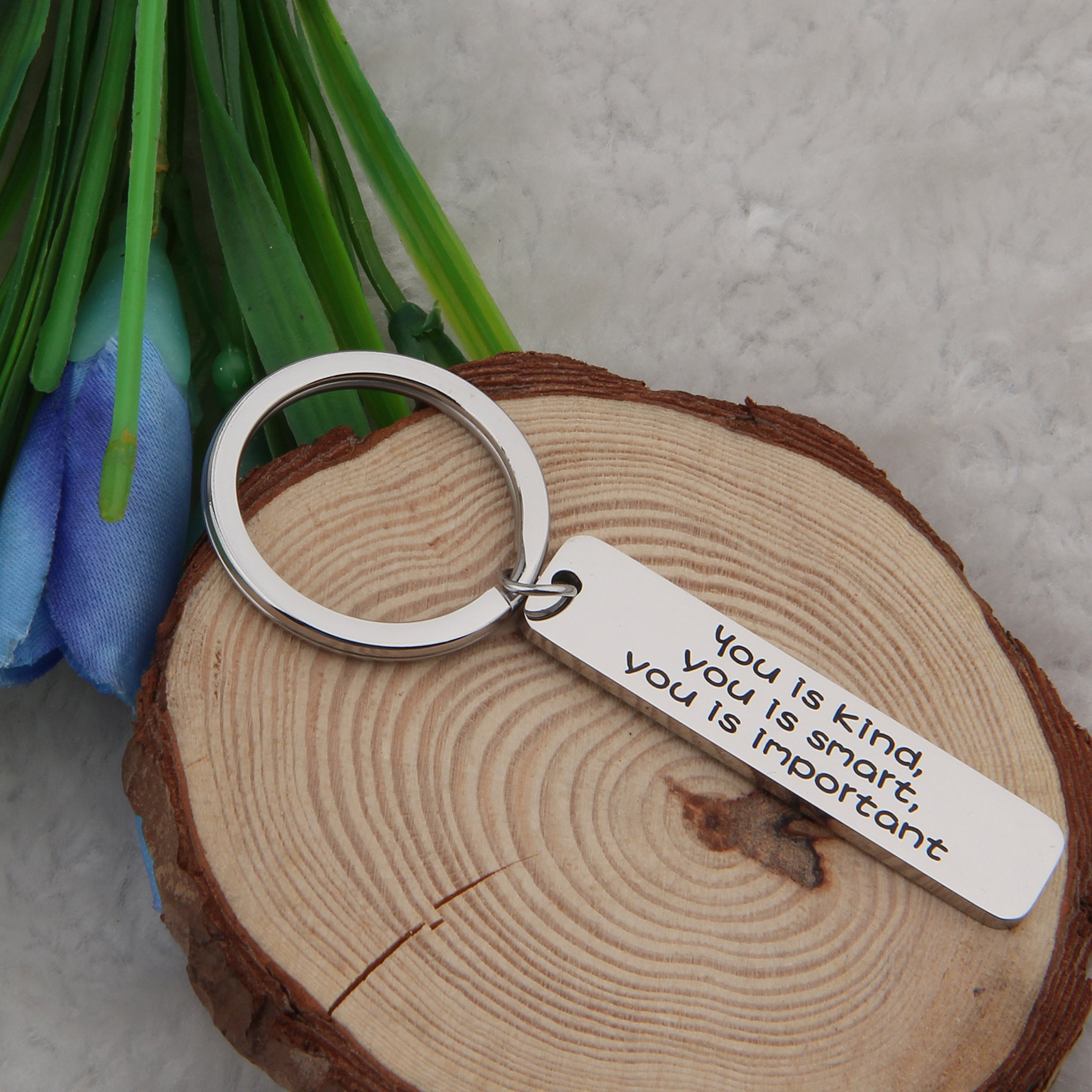 FEELMEM Inspirational Keychain You is Kind You is Smart You is Important Keychain Family Friends Jewelry Back to School Gift/Graduation Gift/Travel Gift (Silver) by FEELMEM (Image #4)