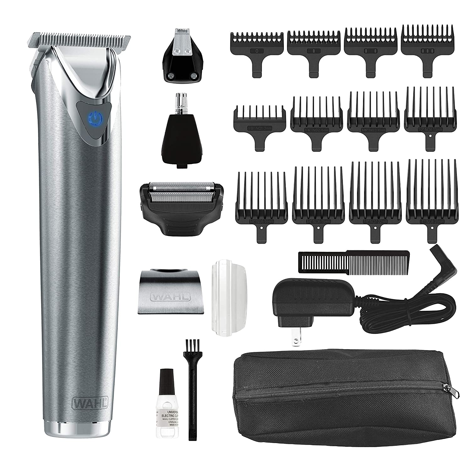 Wahl Stainless Steel Lithium Ion 2.0 Slate Beard Trimmer for Men – Electric Shaver, Nose Ear Trimmer, Rechargeable All in One Men s Grooming Kit – Model 9864SS