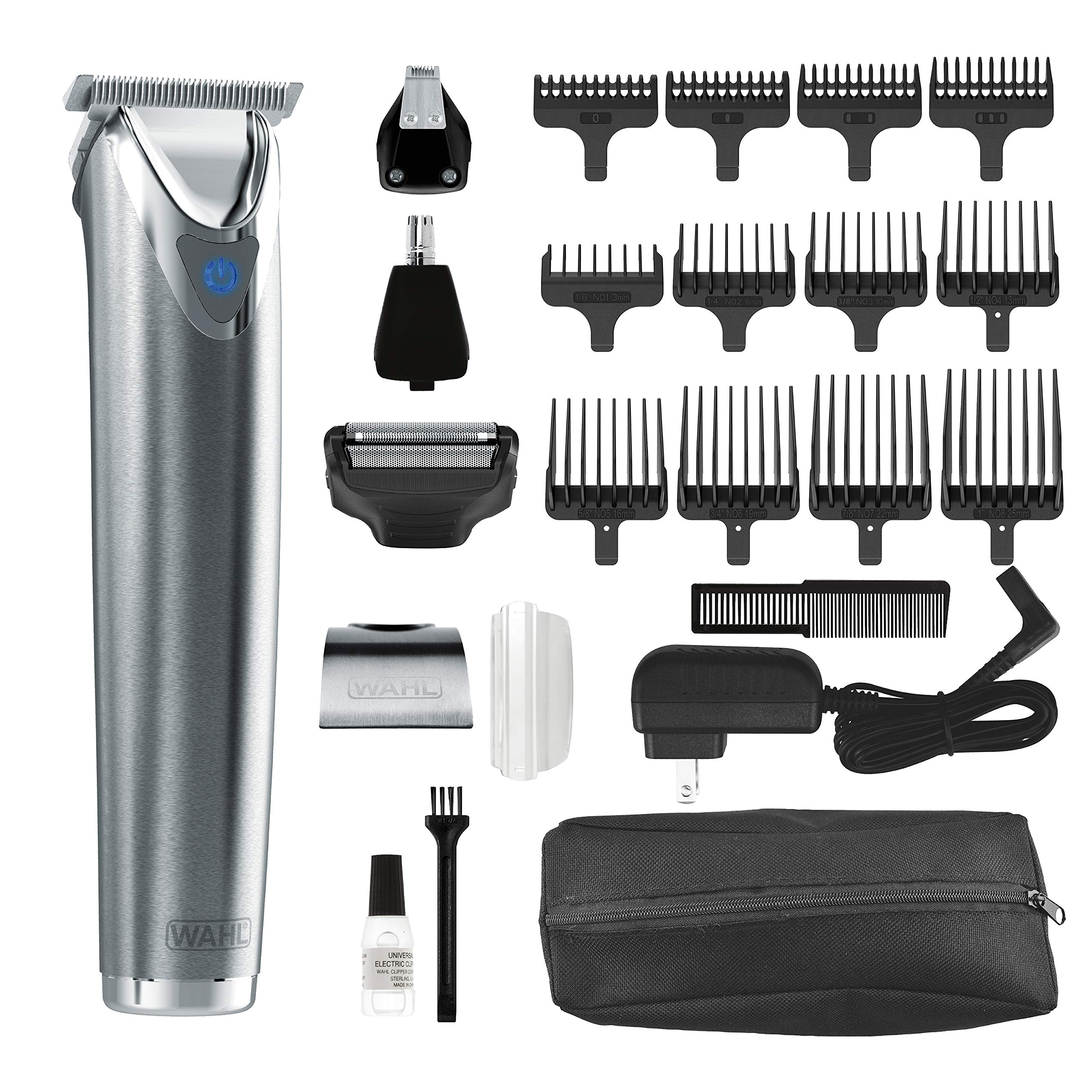 Wahl Stainless Steel Lithium Ion Plus - Beard Trimmer and Shaver for Men | Nose and Ear Hair Trimmer | Rechargeable All in One Men's Grooming Kit | By the Brand Used by Professionals | Model 9864SS by WAHL