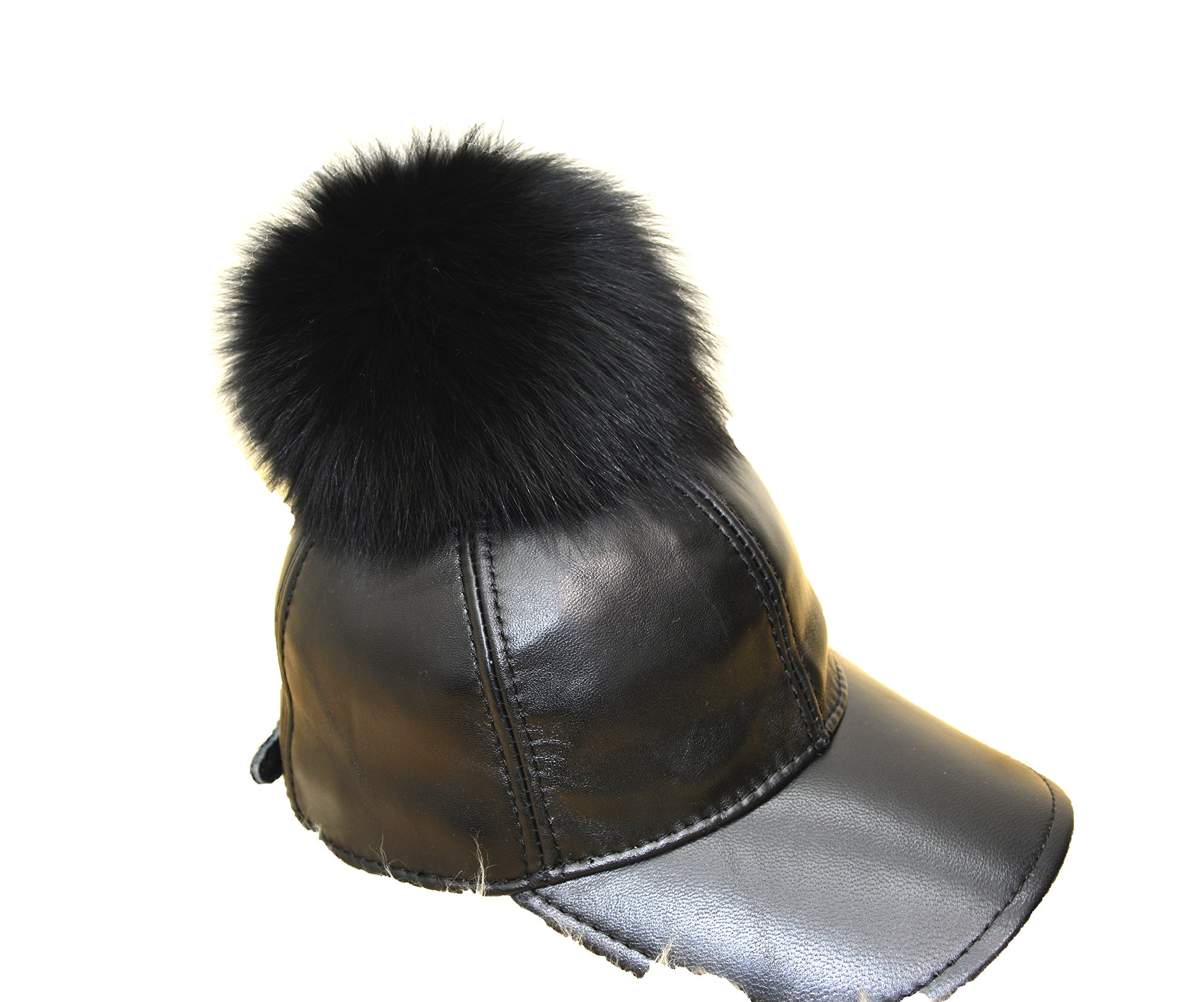 Genuine Leather Real Fox Fur Pom Pom Adjustable Baseball Cap, Black and Brown (Black) by Hima