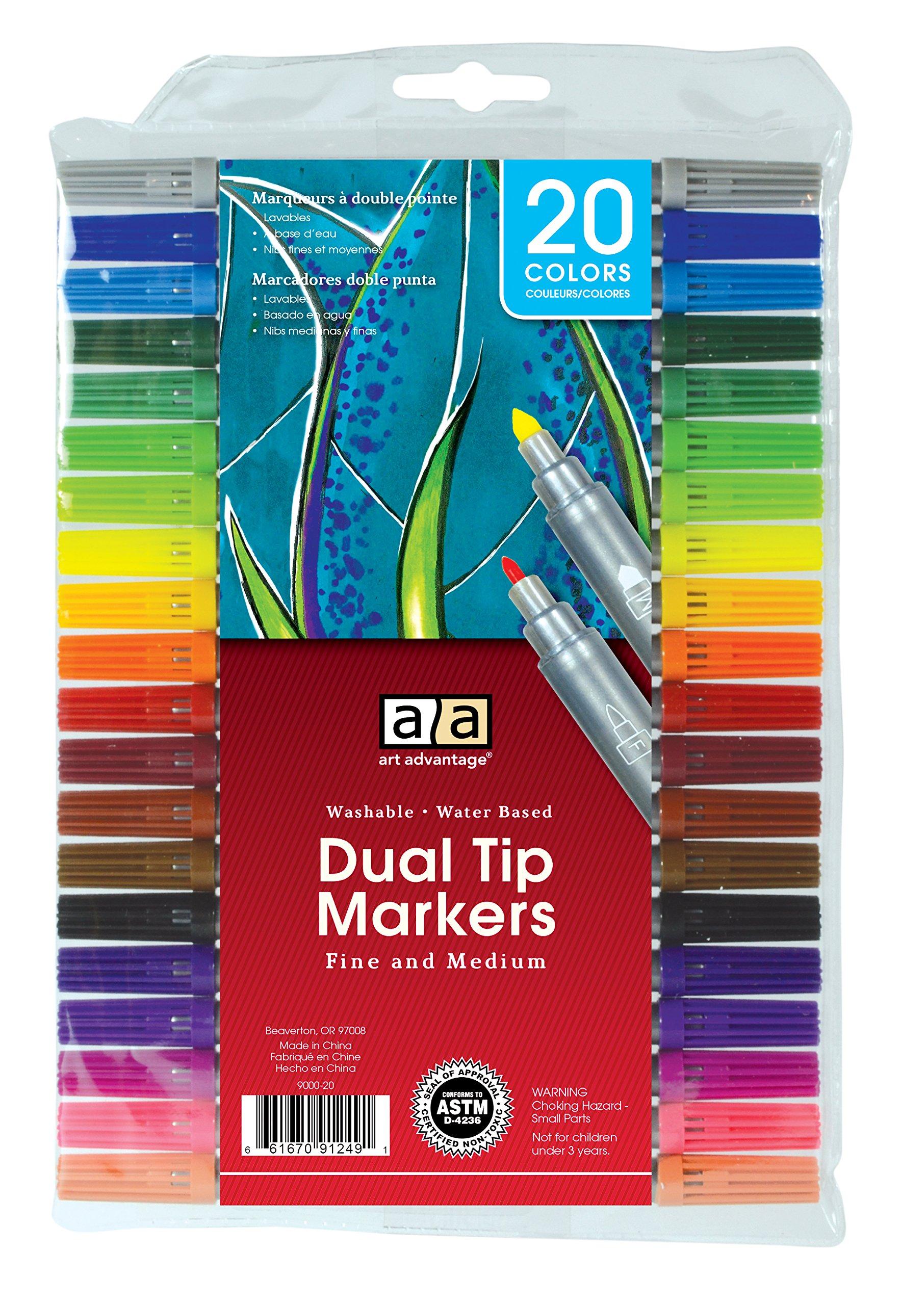 Art Advantage Washable fibras doble punta set de 20 colores
