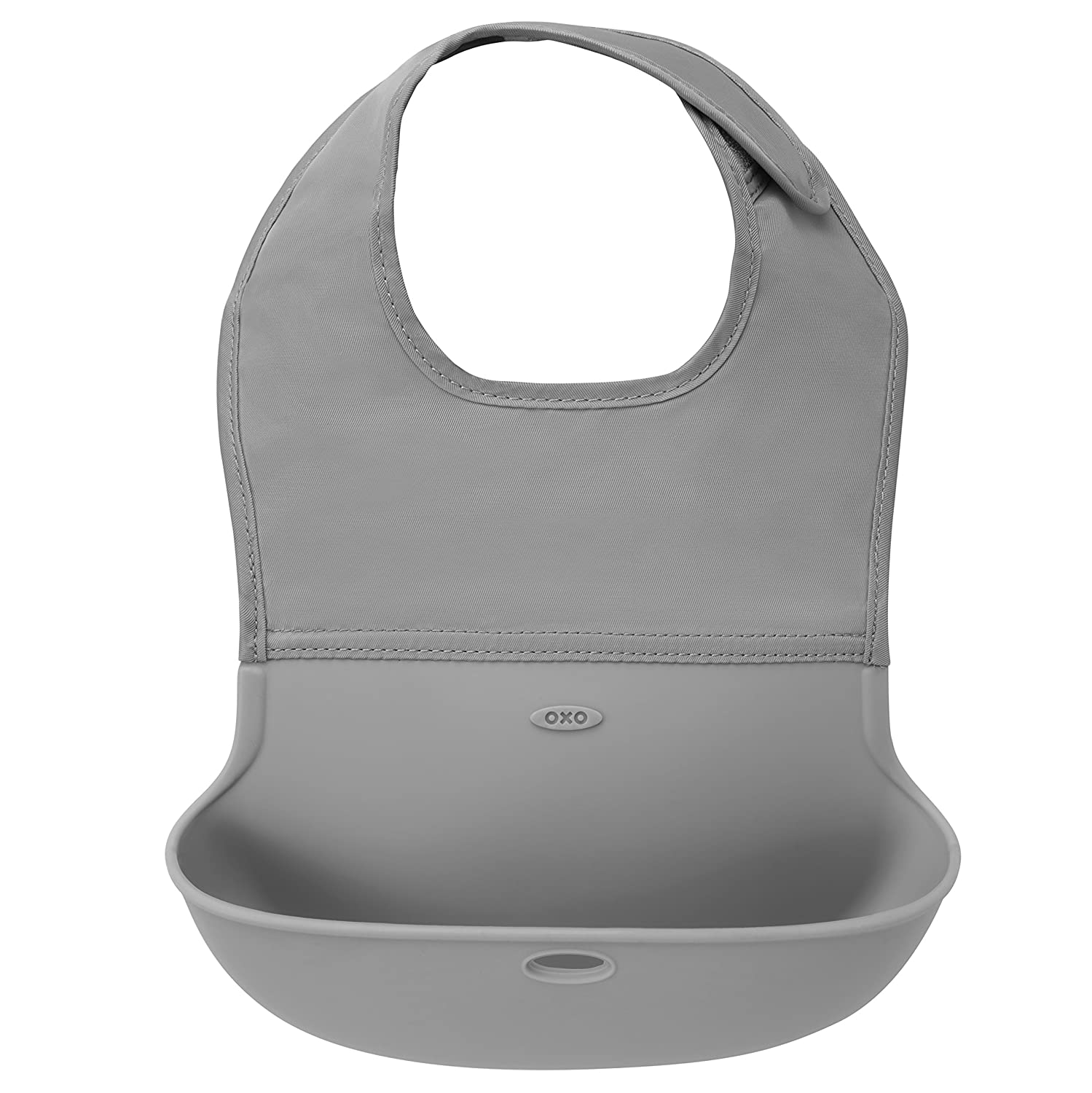 OXO Tot Waterproof Silicone Roll Up Bib with Comfort-Fit Fabric Neck Gray//Pink 2 Pack