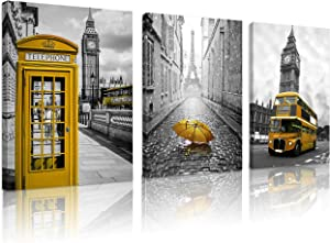 FUNHUA Yellow Telephone Booth and Bus of London Wall Artwork with Wooden Frame Yellow Umbrella and Eiffel Tower of Paris Canvas Painting Art for Living Room Office KTV Wall Decoration 12x16inchx3pcs
