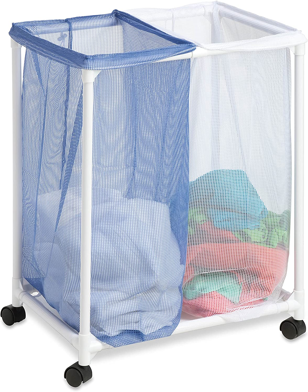 Honey-Can-Do HMP-01628 2 Bag mesh Laundry sorter, White/Blue