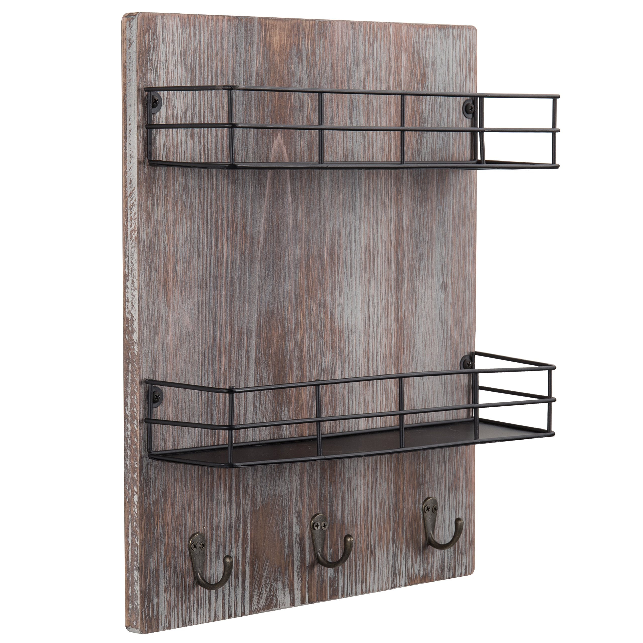MyGift Wall-Mounted Rustic Torched Wood Spice Rack with 3 Utensil Hooks