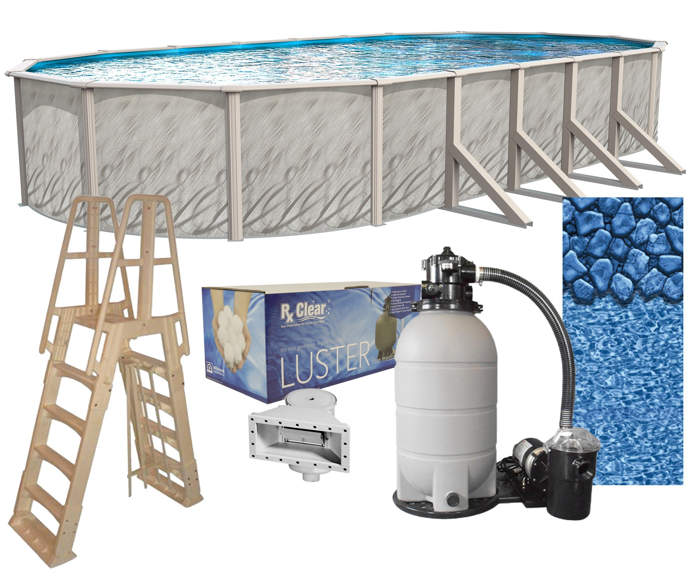 Renewed Peel and Stick Above Ground Pool Cove Blue Wave 48 in 15 Pack