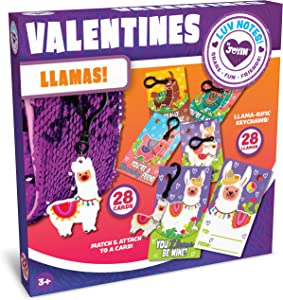 JOYIN 28 Pack Valentines Day Gifts Cards for Kids with Llama Key Chain for Valentine's Classroom Exchange Cards and Valentines Party Favor