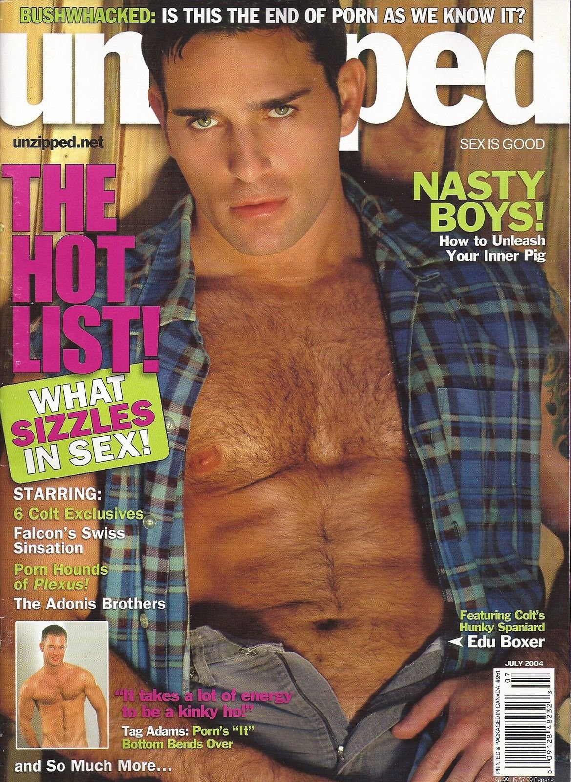 Edu Boxer l Tag Adams l THE HOT LIST! WHAT SIZZLES IN SEX l Secrets of the  Porn Stars l The Magazine of Gay Adult Entertainment - July, 2004 Unzipped  Single ...