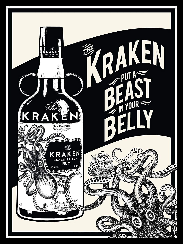Placa de metal para pared retro, con diseño de ron Kraken, para regalo, pub, club masculino