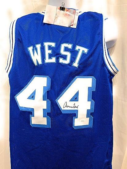 cheaper b425d 3b3cc Jerry West Los Angeles Lakers Signed Autograph Rare Blue ...