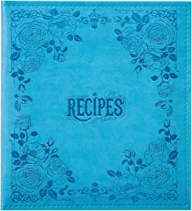 COFICE Recipe Binder – 8.5x9.5 Recipe Ring Binder with PU Faux Leather Cover, 4x6 Cards and Tabbed Dividers, Blue