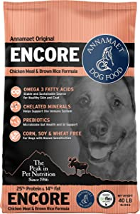 Annamaet Original Encore Formula Dry Dog Food, 25% Protein (Chicken & Brown Rice)