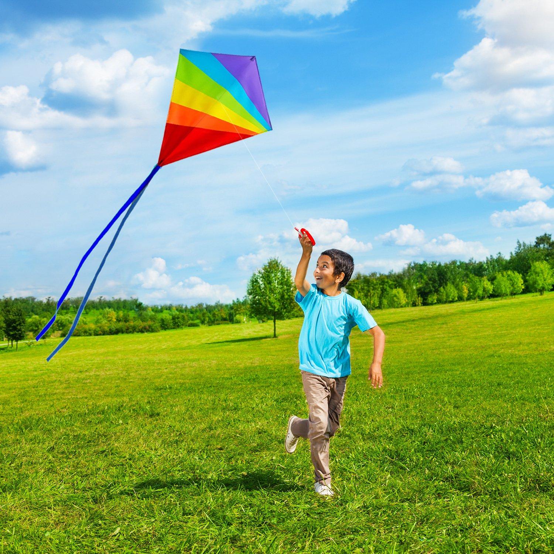 Colores Brillantes del Arco Iris Muy f/ácil de Volar Ideal para Principiantes Sun Kites Cometa de Diamantes para ni/ños y Adultos