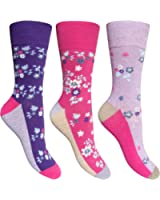 Women's Floral Daisy Pattern Gentle Grip HoneyComb Top Socks (3 Pair Pack)