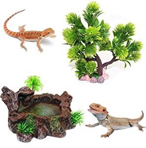 Reptile Tank Decor,Reptile Platform Water Dish and Food Feeding Bowl Artificial Aquarium Resin Tree Decor for Lizard Bearded Dragon Frog Turtle Snake Iguana