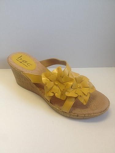 87b9de64496f Born B.o.c Concept Jamaica Floral Flower Wedge Sandal Shoe Women s Size 10  Yellow