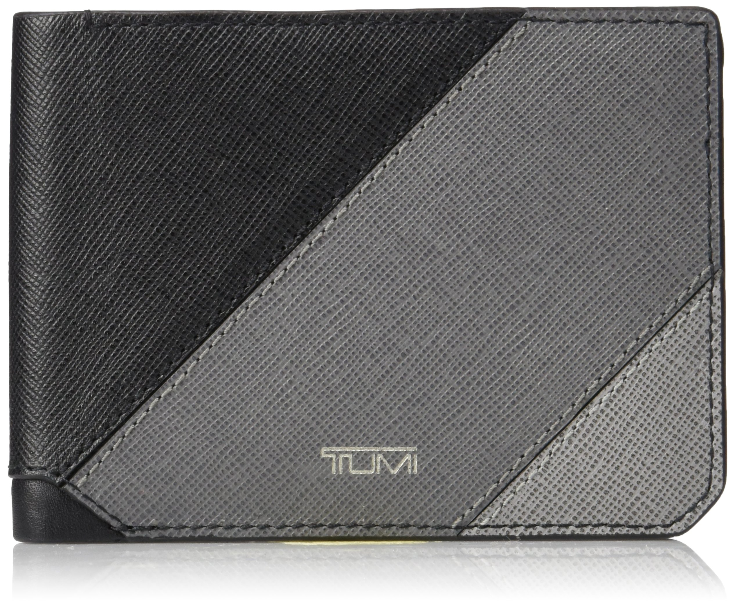 Tumi Men's Mason Double Billfold Wallet With Rfid Blocking, Grey Pieced Leather, One Size