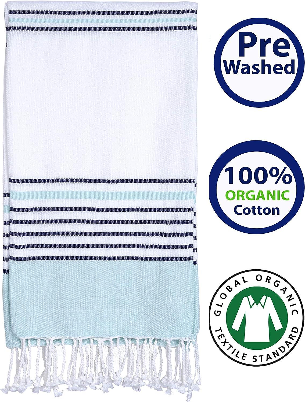 "Prewashed GOTS Certified Organic Cotton (Ringspun Combed Yarn) Peshtemal Beach Towel, Bath Pestemal (39"" x 65"") Highly Absorbent, Quick Dry, Soft, Compact, Machine Washable, Eco-Friendly (Aqua Navy)"