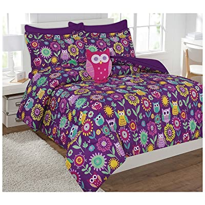 Linen Plus Comforter Set for Girls Owl Purple Yellow Teal Pink New (Twin): Home & Kitchen