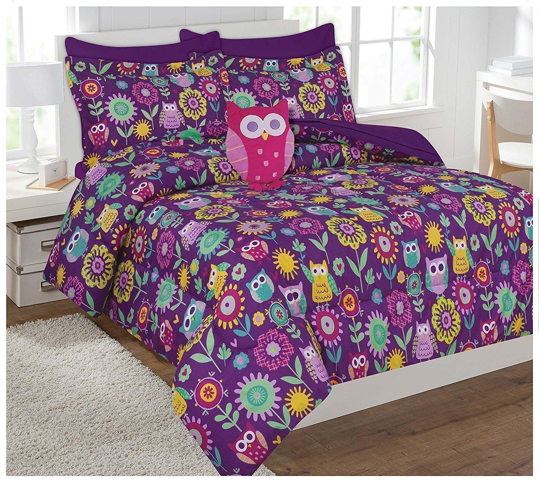 Linen Plus Twin Size 6pc Comforter Set Girls Owl Purple Yellow Teal Pink