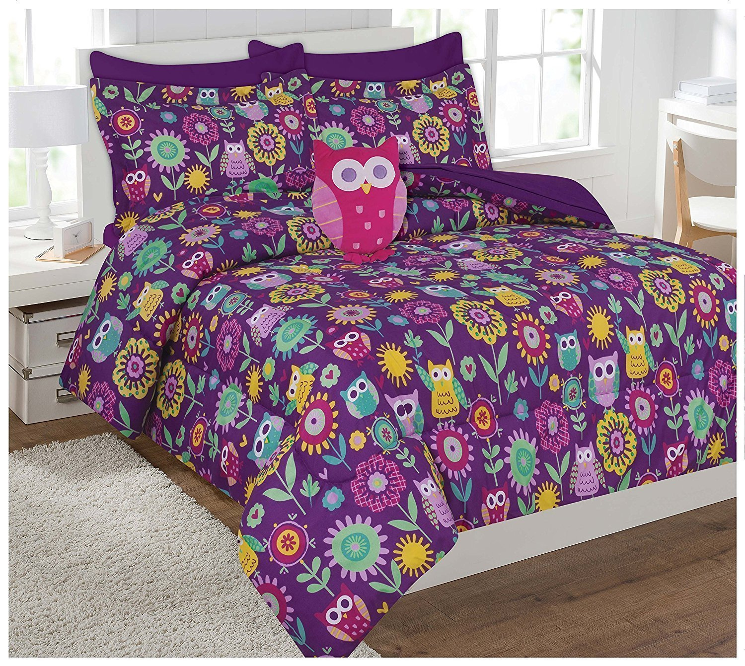 Linen Plus Full Size 8pc Comforter Set for Girls Owl Purple Yellow Teal Pink New