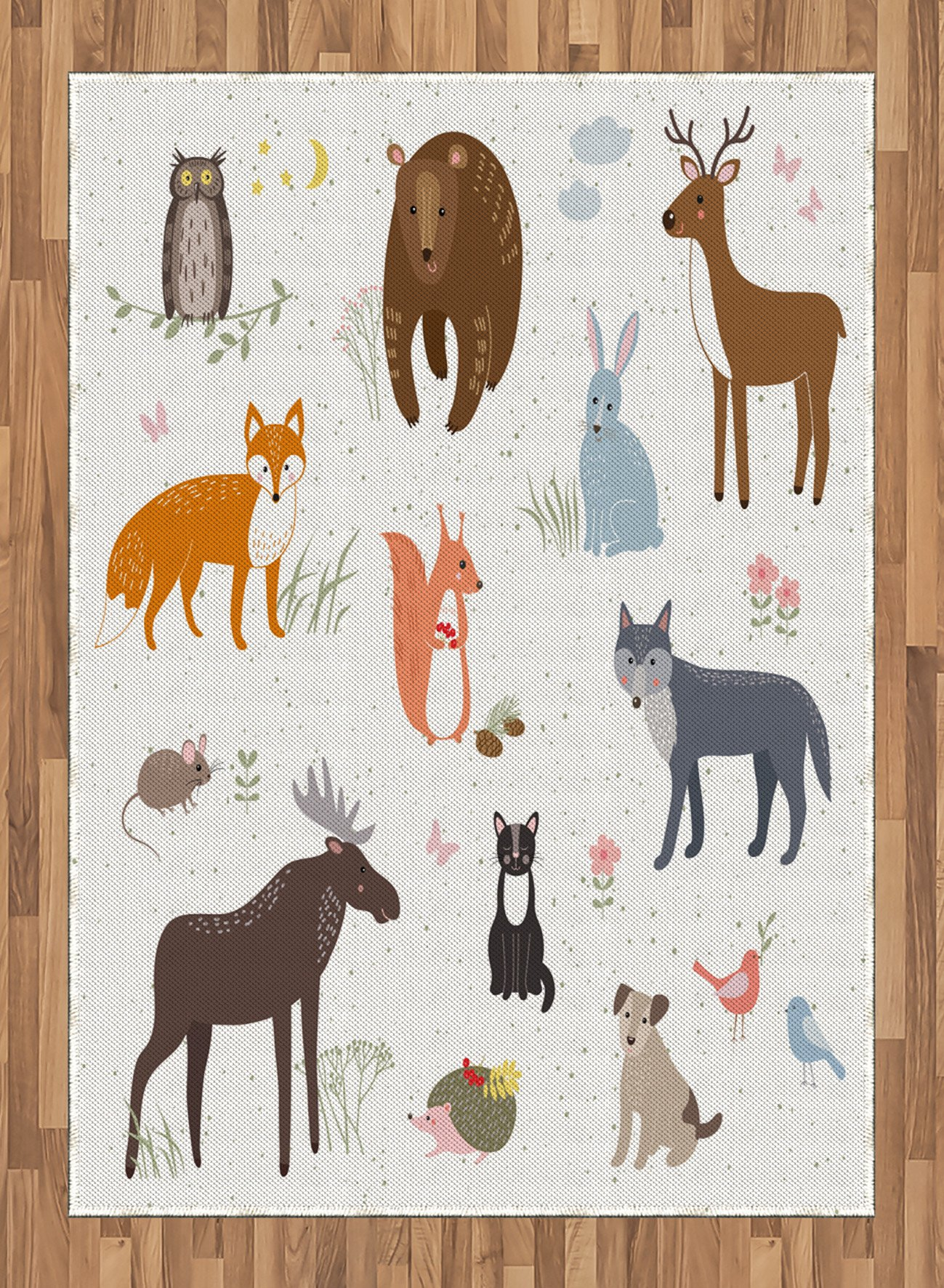 Cabin Area Rug by Lunarable, Cute Animals in the Springtime Meadow Childish Woodland Fauna Kids Baby Room Nursery, Flat Woven Accent Rug for Living Room Bedroom Dining Room, 5.2 x 7.5 FT, Multicolor