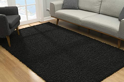 Malibu Collection Modern Shaggy Area Rug, 9 x 12 , Black