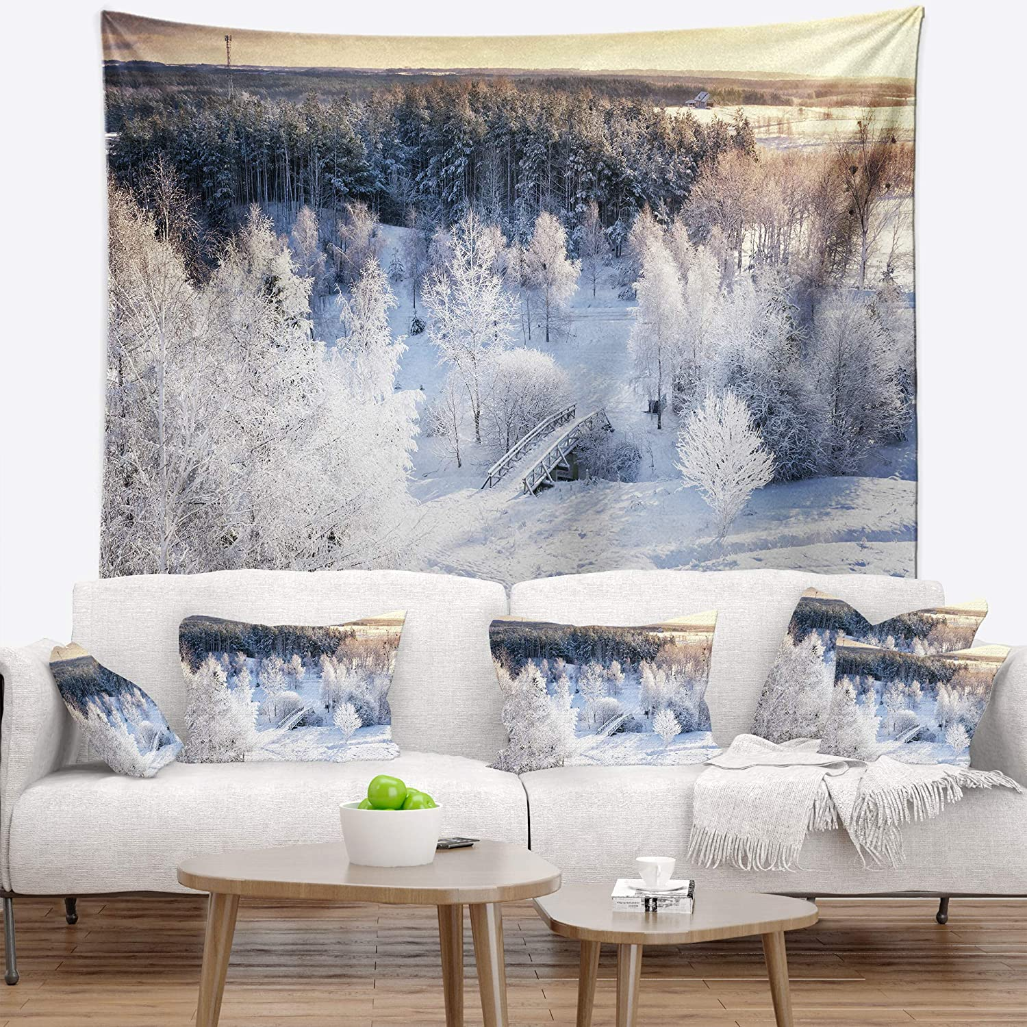 60 x 50 Designart TAP15369-60-50  Beautiful Winter Panorama Landscape Blanket D/écor Art for Home and Office Wall Tapestry Large