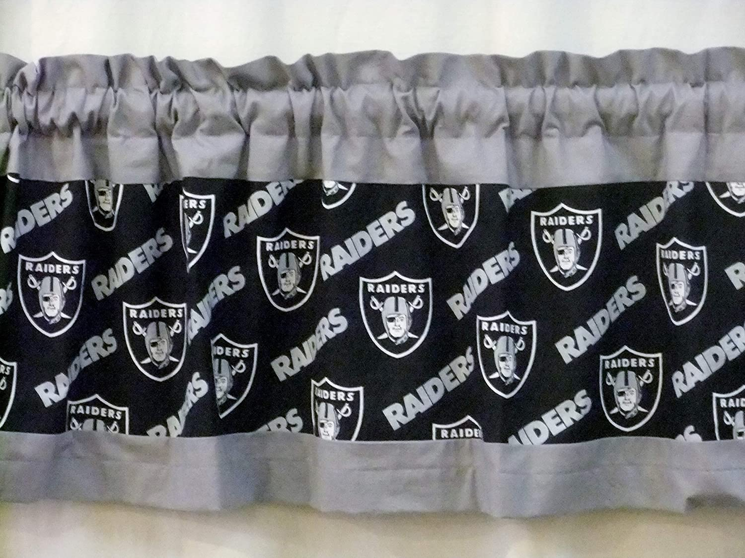 52 or 80 Width X 13 Length with or without lining NFL Football 40 Custom Designed Oakland Raiders Valance Choose gray t//b
