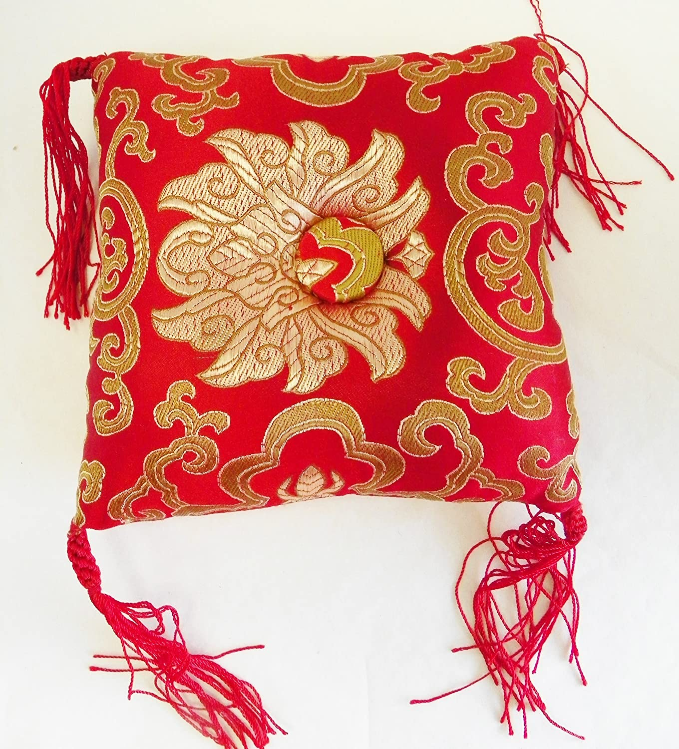 F1041/F783 Huge Silk Brocade Cushion Pillow for Tibetan Singing Bowl Handmade in Nepal bowlsofnepal
