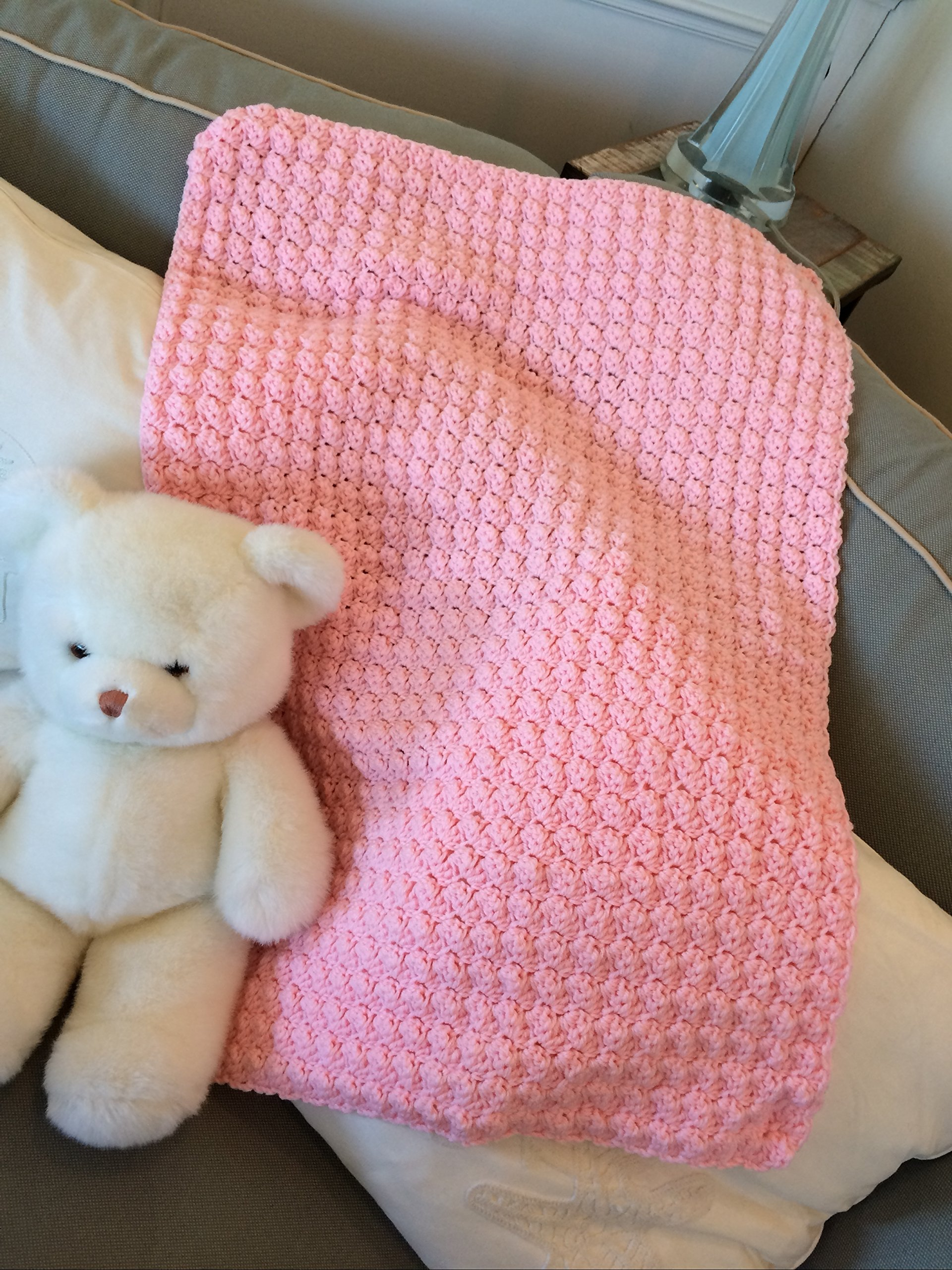 Pink Popcorn handmade crochet afghan