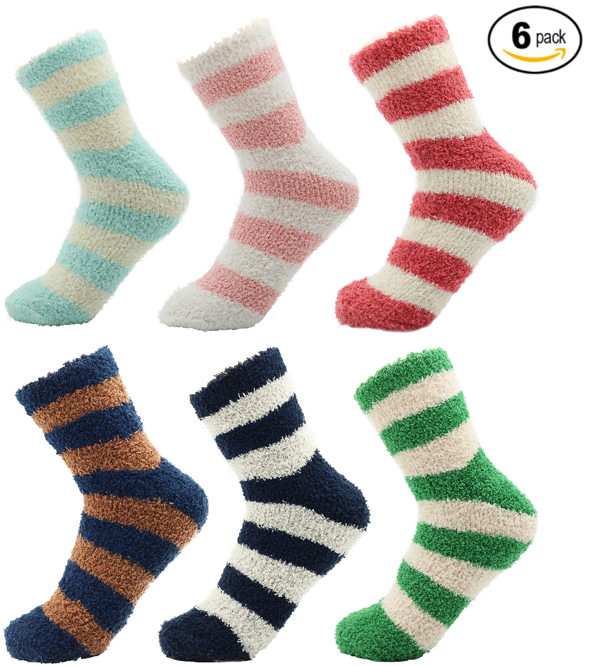 Cosy Socks for Women Fluffy Super Soft Thermal Womens Loungewear Slipper Bed Socks Pack of 6