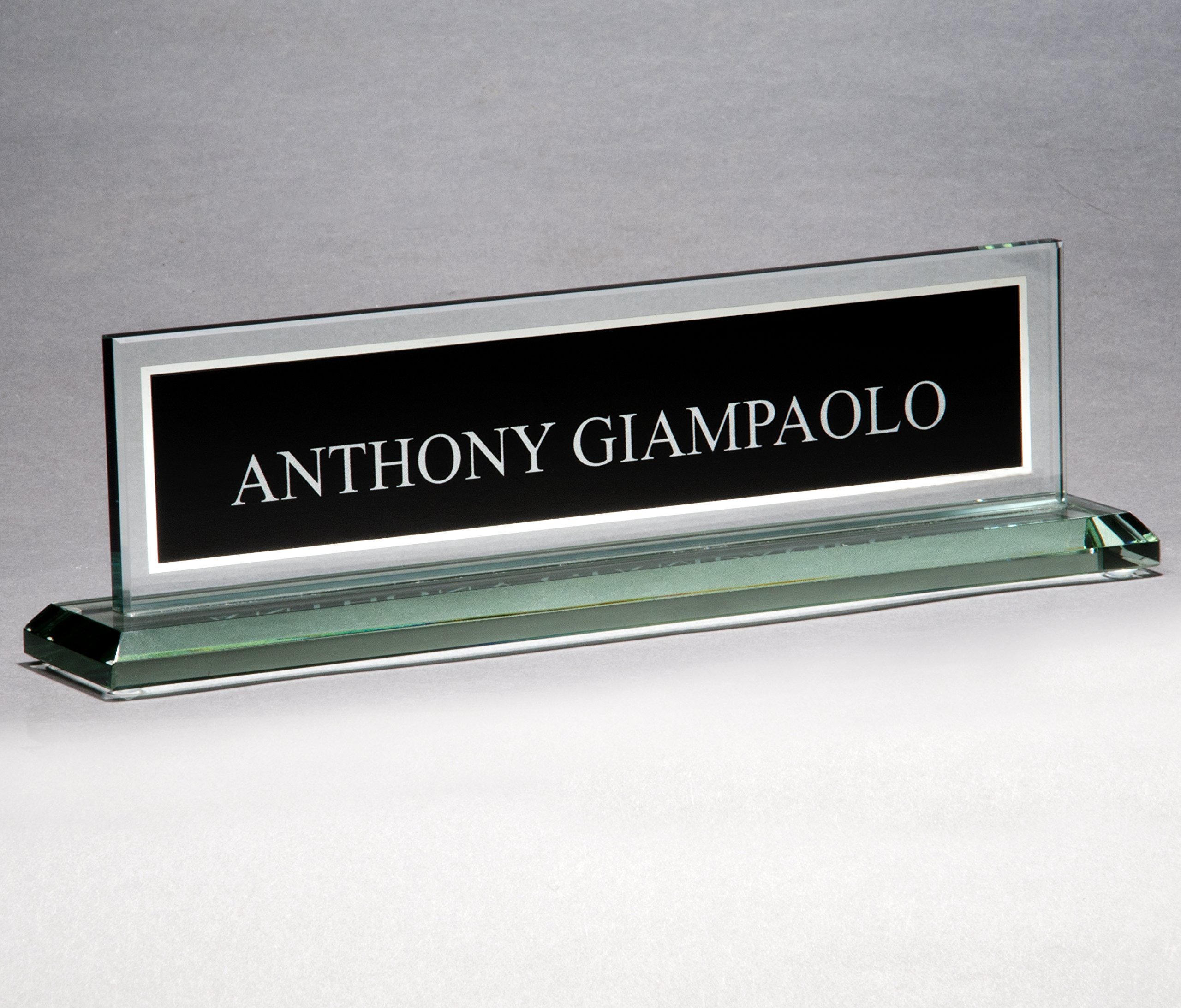 Black Glass Name Plate with Free Engraving (Customize Now)