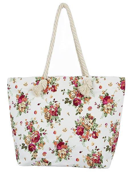 ef0f67ce3 Amazon.com | Leisureland Canvas Tote Beach Bag, Rope Handle Water Resistant Shoulder  Bag (L17