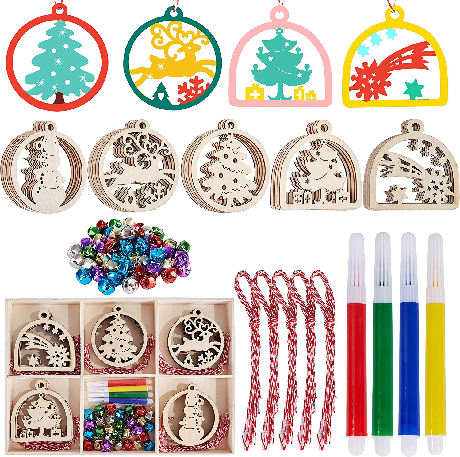 Artmag 30pcs Unfinished Wooden Hanging Ornaments for Christmas Decorations,5 Styles DIY Wood Slices with Holes for Kids Crafts Centerpieces Holiday Hanging Decorations