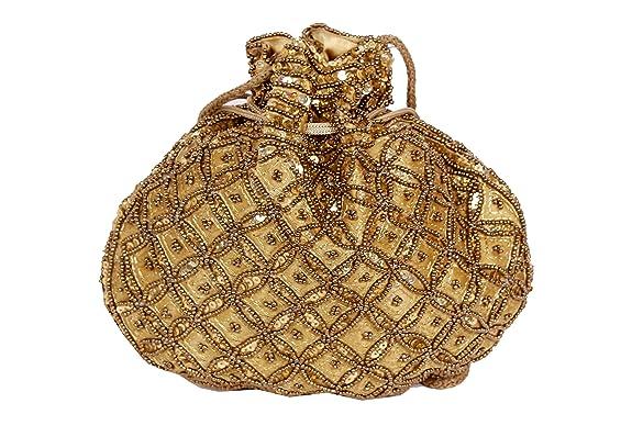 Vintage & Retro Handbags, Purses, Wallets, Bags Indian sequence Potli Bag/ wedding purse/jewelery purse for girls & women (Base Color- Golden) $11.99 AT vintagedancer.com