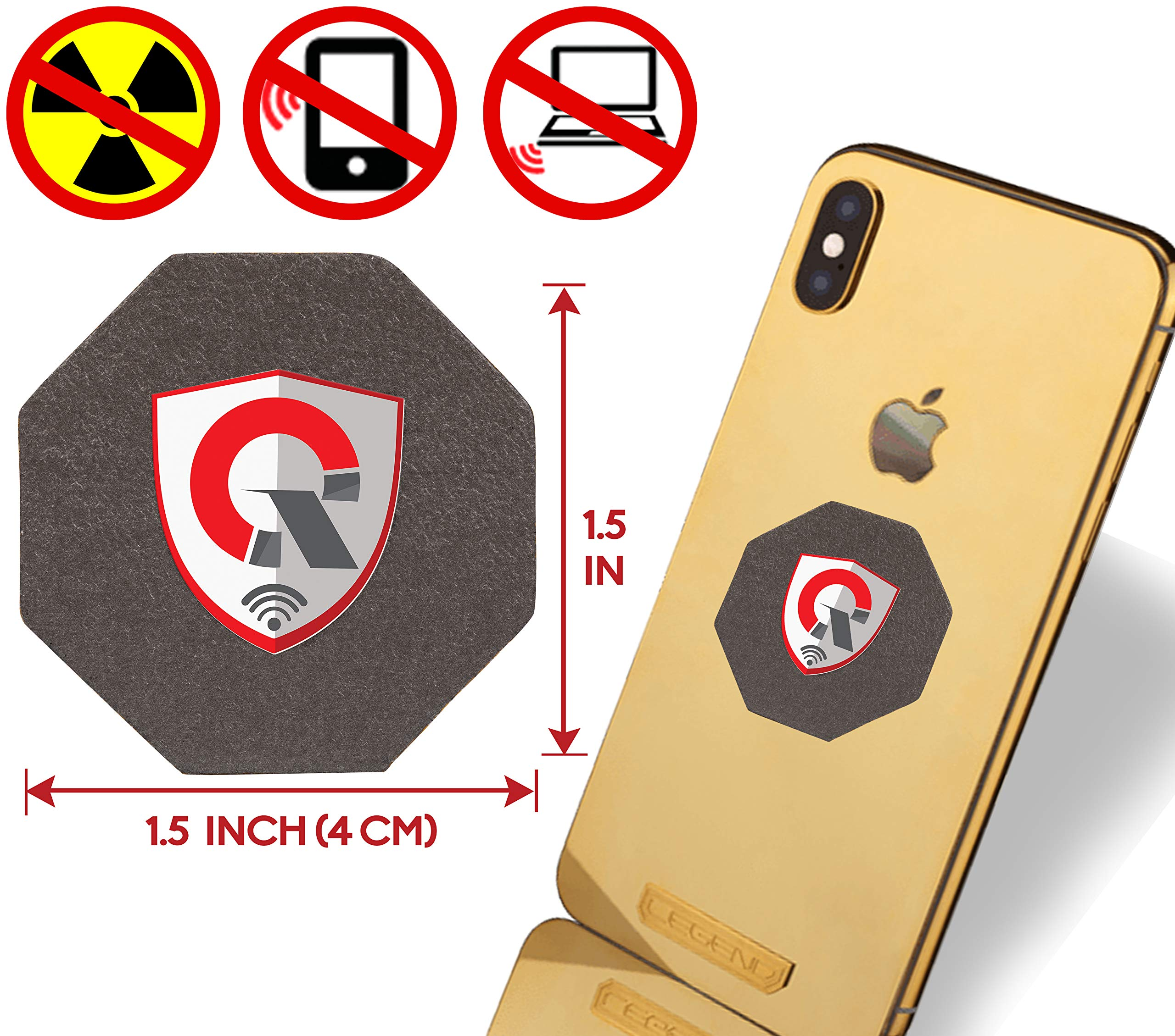 Best EMF Protection CELL PHONE : Radiation Protection Tesla Technology EMF Shield WiFi, Laptop-All Devices| Negative Ion Generator| Global AWARDS Anti Radiation Shield, EMF Blocker Neutralizer 1.5INCH by QUANTHOR
