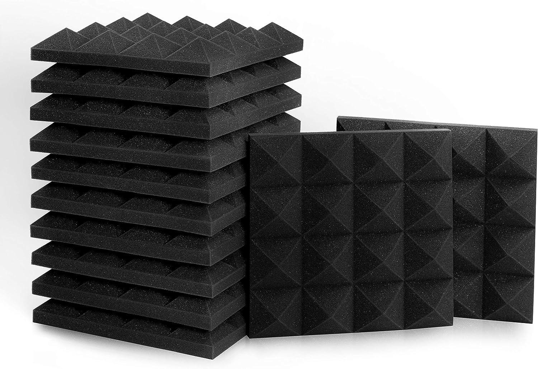30cm// 12 12in ammoon 12 Pack Studio Acoustic Foams Panels Sound Insulation Foam 30