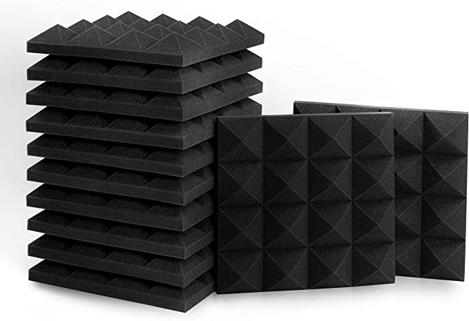 12 Pack Soundproofing Studio Room Foam Wedge Panel Tiles Noise Insulation Pads