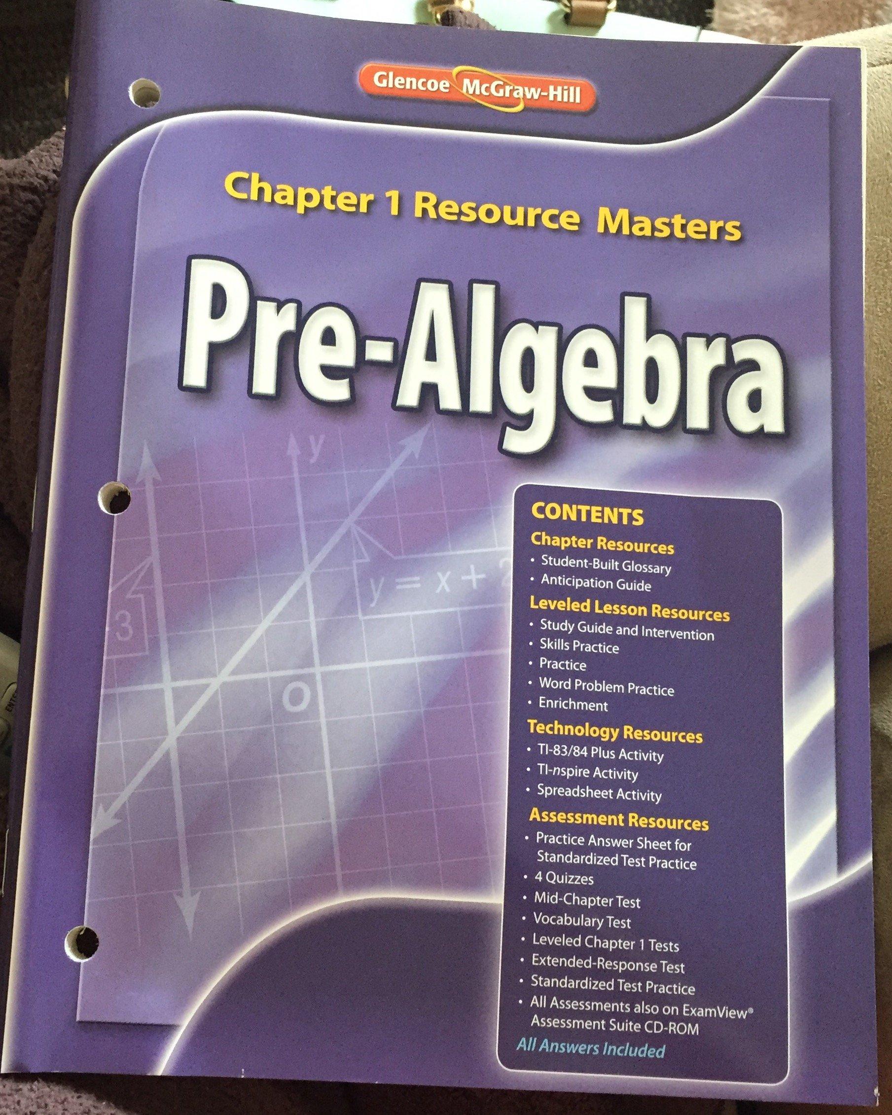 Amazon Buy Glencoe Pre Algebra Chapter 1 Resource
