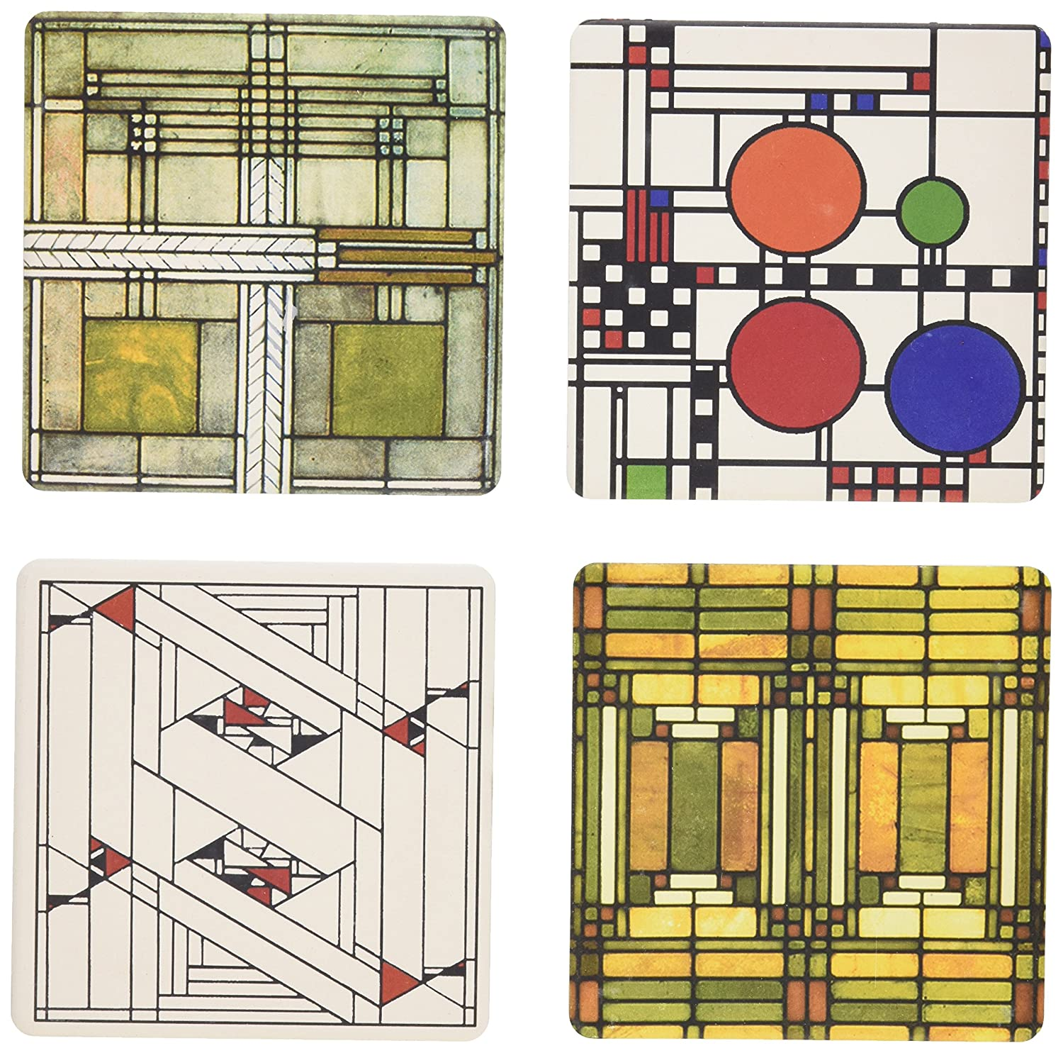 CoasterStone AS305 Absorbent Coasters, 4-1/4-Inch, Frank Lloyd Wright Art Glass Designs
