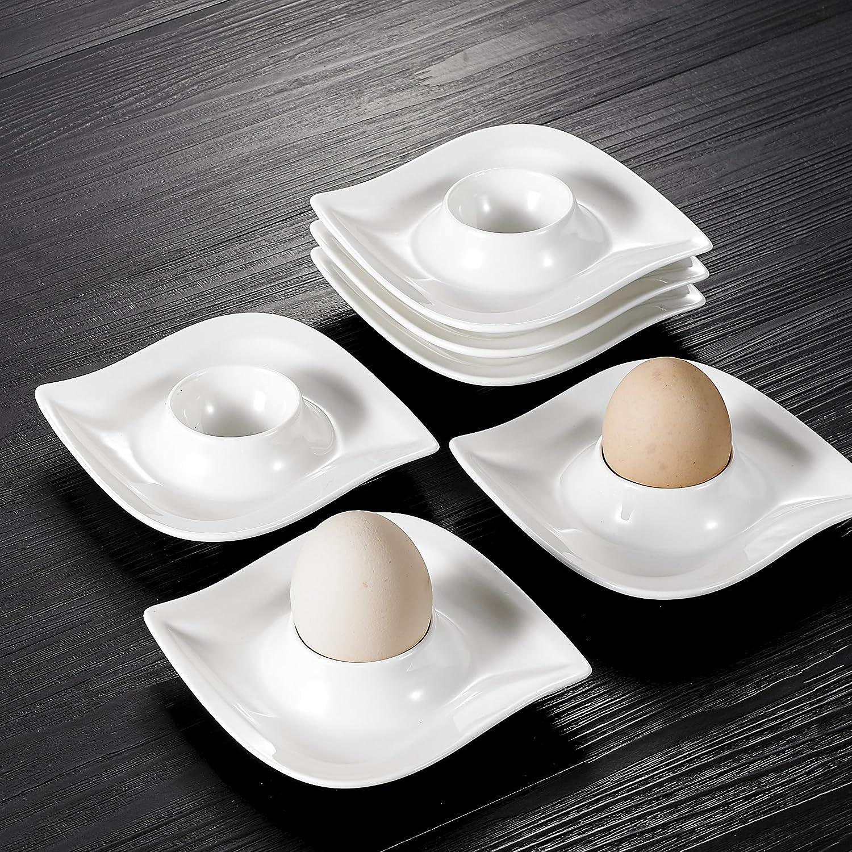 MALACASA Crema 2RP//3SB serie Elvira 6-Piece Square Bowl Set Porcelana